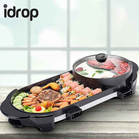 idrop 2 in 1 BBQ Electronic Pan Grill Teppanyaki & Hot Pot Steamboat Combination Party Family Friend Gathering Electric Grill