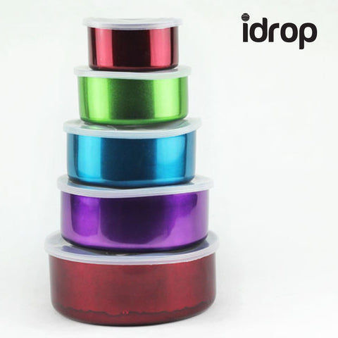 idrop 5pcs colorful Stainless Steel food container Box