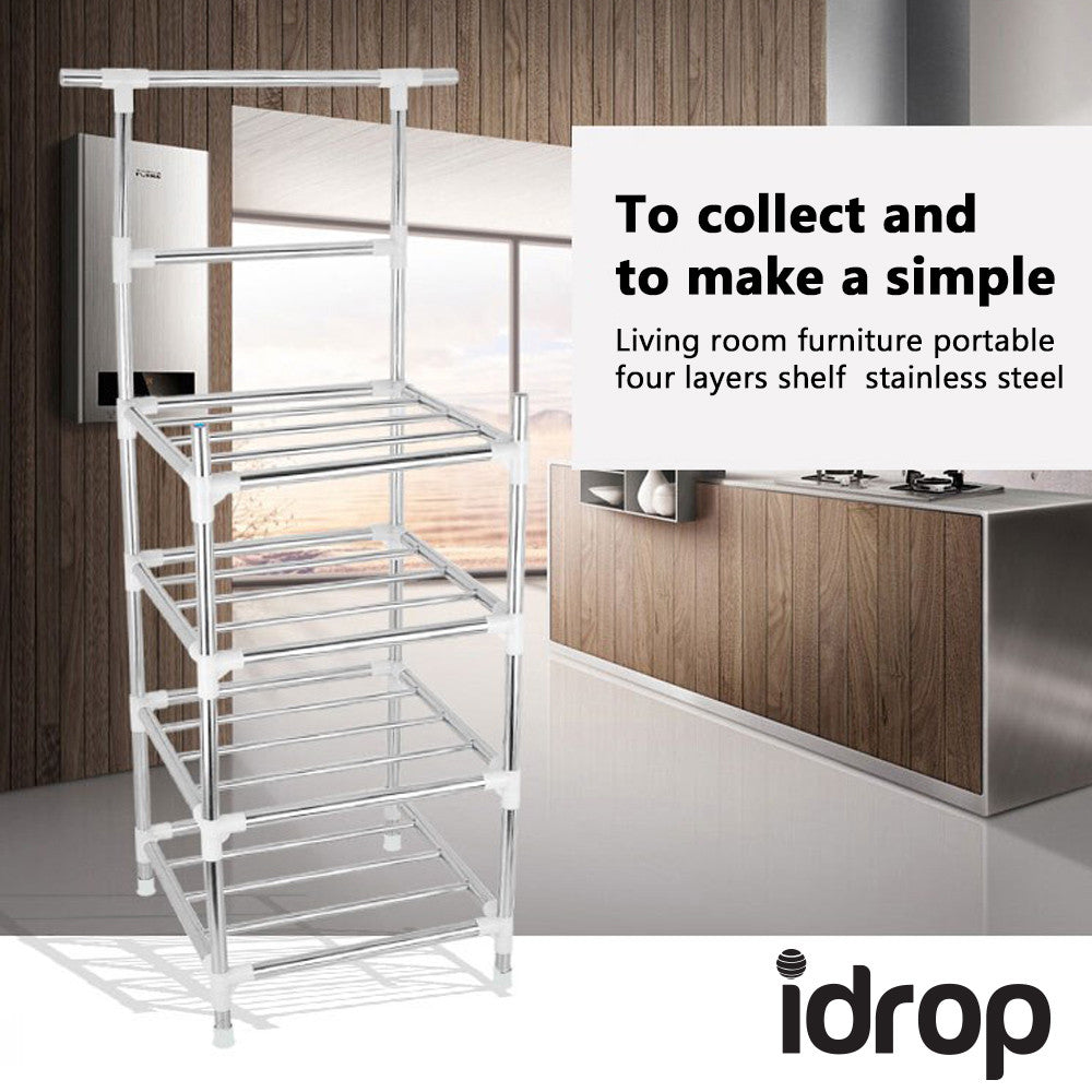 Idrop Living Room Furniture Portable Four Layers Stainless Steel Shelf Idrop