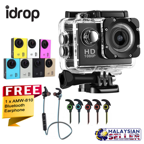 idrop COMBO SJ4000 Video Action Camera 720p HD Sport DV (No Wifi) + Free In-Ear AMW-810 Bluetooth Earphone
