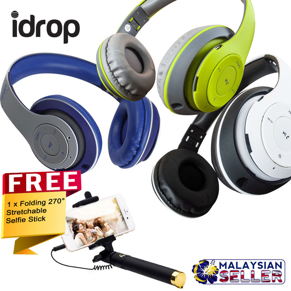idrop COMBO TM-028 Wireless Bluetooth Headset + Free Selfie Stick Stretchable Extendable Folding 270° Rotating Wired