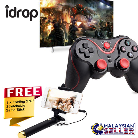idrop COMBO C8 Wireless Bluetooth Gamepad With Adjustable Bracket Holder+ Free Selfie Stick Stretchable Extendable Folding 270° Rotating Wired