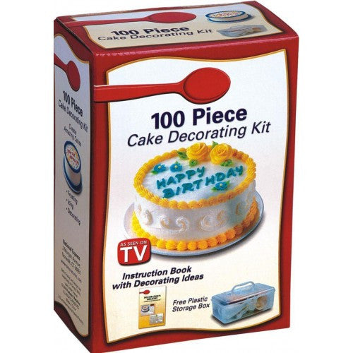 100 Pcs DIY Cake Decorating Kit with Free Storage Box (White)