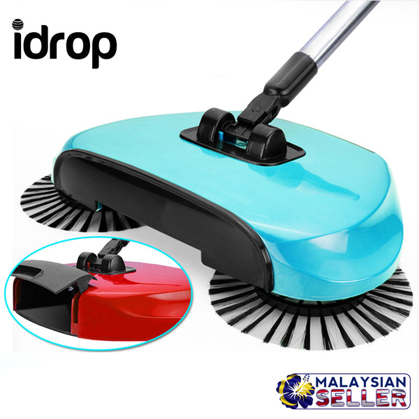idrop 360° Hand Propelled Sweeper Rotation Hand Sweeper Broom Dustpan [ RANDOM COLOR ]
