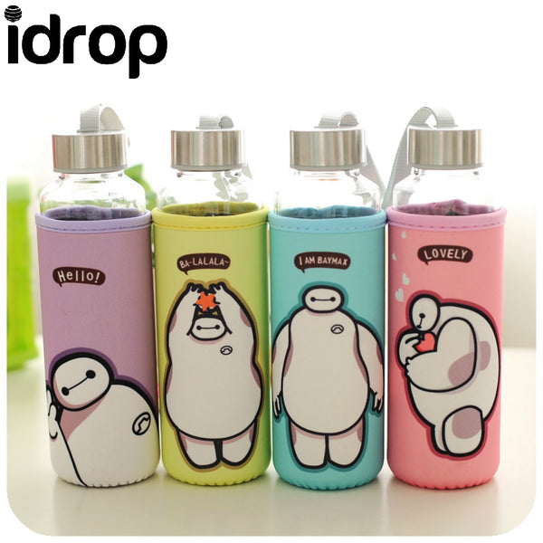 Idrop BT-1397#Creative Cartoon Glass Bottle With Bottle Cover 500ML  [Send by randomly color]