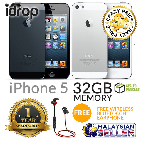 idrop Apple iPhone 5 32GB - FACTORY UNLOCKED with 1 Year Warranty + Free Gift
