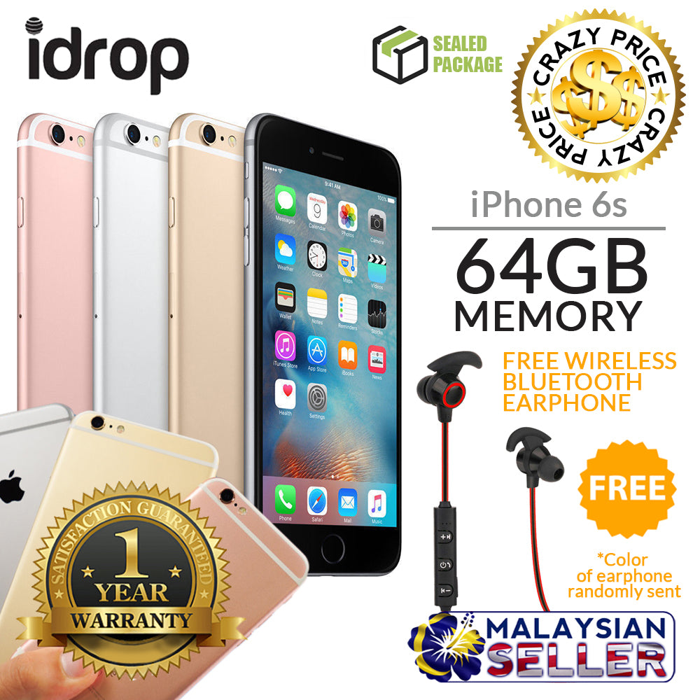 Apple Iphone 6s 64gb Factory Unlocked With 1 Year Warranty Free Gold Grey Silver Gift
