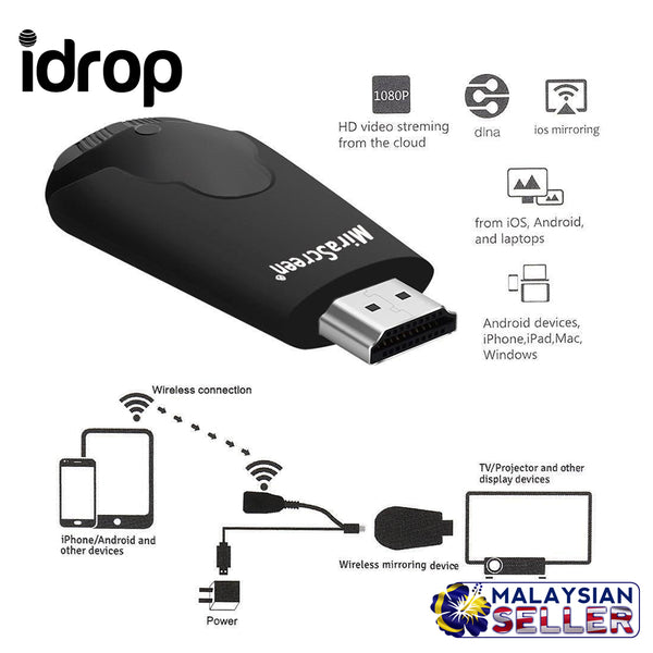 idrop K4 Wireless WiFi Display Dongle Receiver 1080P HD Interface TV Stick DLNA Airplay Miracast for Smart Phones Tablet