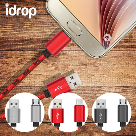 idrop Cable Charging Data Transfer 1 Meter Nylon Braided MICRO USB to USB Charging Cable