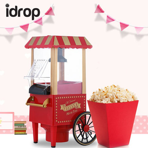 idrop Creative Vintage Mini Popcorn Maker Cart Machine