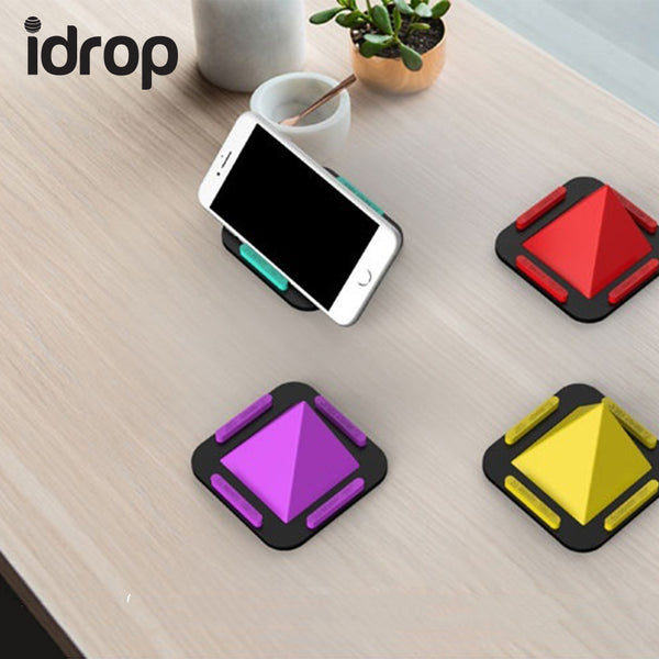 idrop Pyramid Phone Holder Stand Soft Silicone Non-slip Car Desk Stand Holder for all Smartphone Mobile phone Support Mount