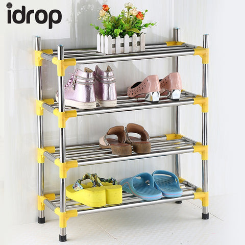idrop 4 Layer stainless steel shoe frame shoes shelves shelves home finishing frame