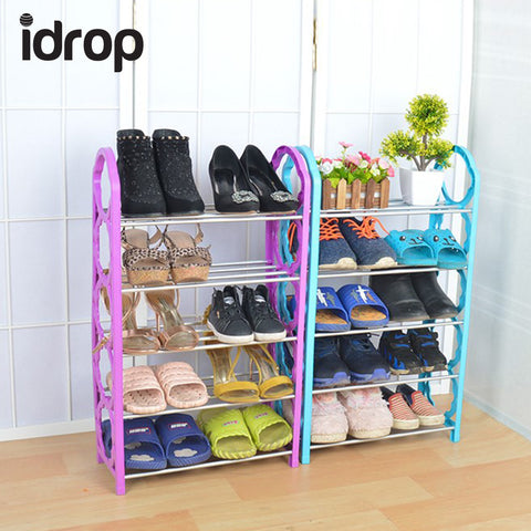 idrop Five Layer Plastic Stainless Steel Shoes Shelf Storage Shoe Rack