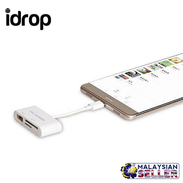 idrop 3in1 Type C Micro SD SDHC TF Card Reader USB 3.1 OTG Adapter