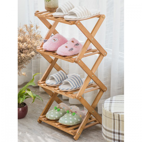 Foldable Tiered Wooden Shelf