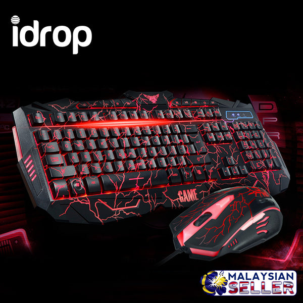 idrop V-100 Three-color Backlight Gaming Wired Keyboard And Mouse Suit