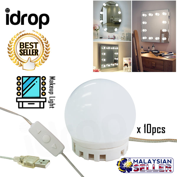 idrop Vanity Mirror LED Lights For Mirror With 10 Dimmable Light Bulbs For Makeup Table