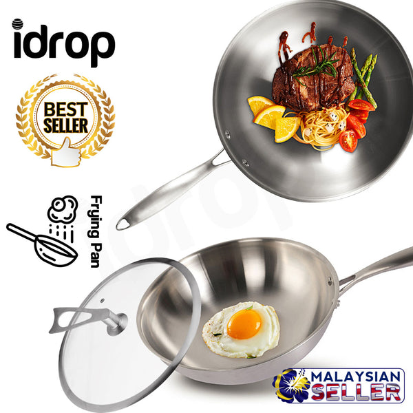 idrop Portable Stainless Steel Wok Frying Pan with Glass Lid [32cm]