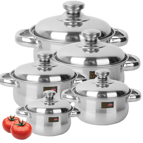 Set of 5 Stainless Steel Soup Pot