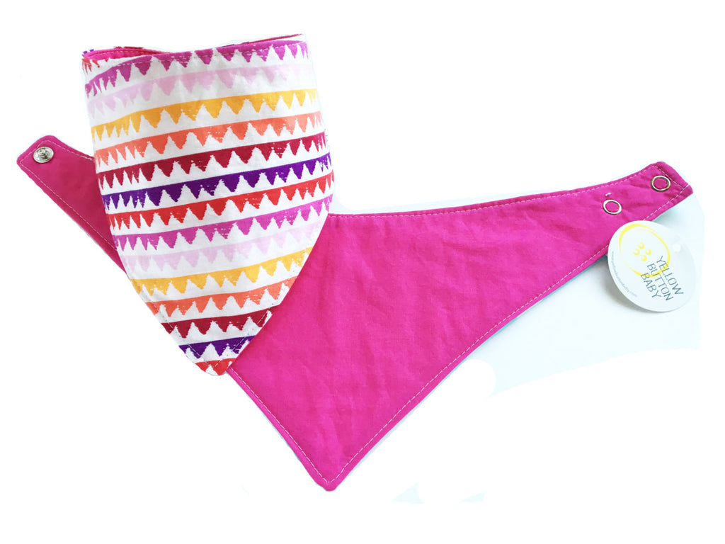 Zig Zag Pink Drool Catcher with Pink Solid reversible side