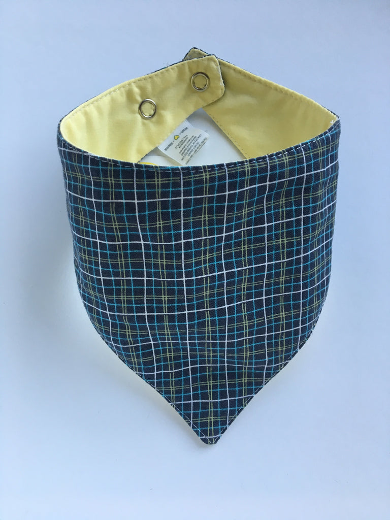 Plaid / Solid Yellow Drool Catcher