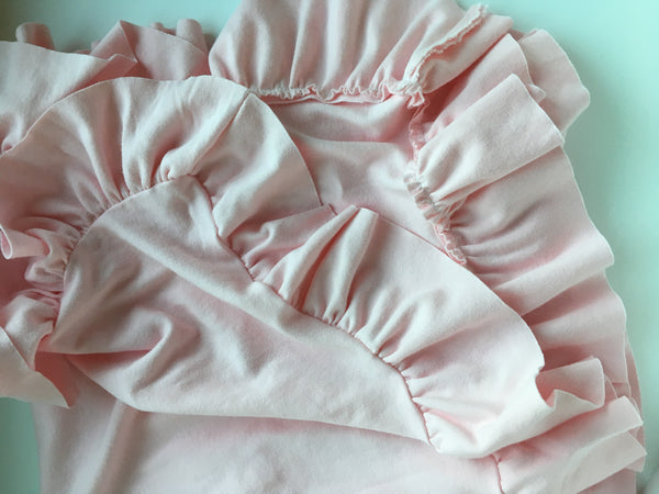 Pink or Cream Organic Knit Ruffle Blanket - Lightweight