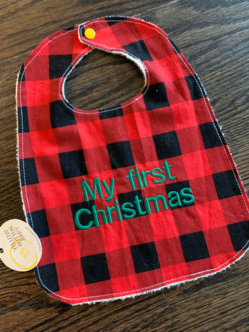 My First Christmas Plaid Bib