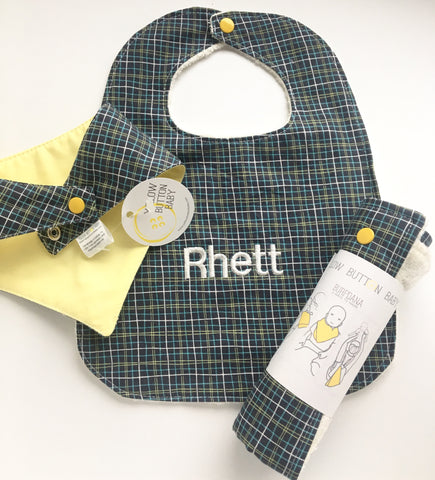 Baby Shower Gift Set - Pick your print : Bib, Drool Catcher, Burpdana