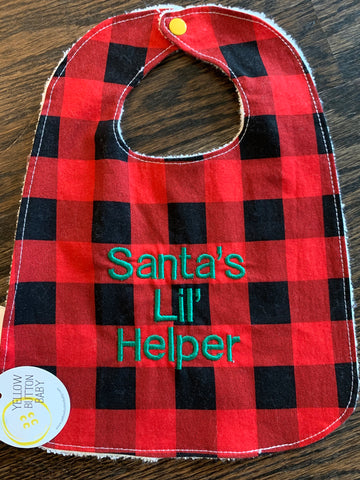 Santa's lil' helper Plaid Bib