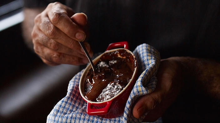 Native eating: Chocolate and wattleseed self-saucing pudding