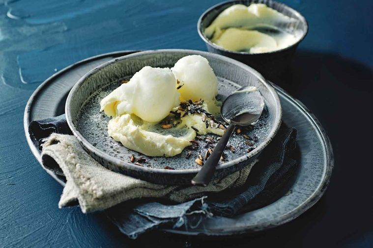 NATIVE EATING: SORBET WITH WHITE CHOCOLATE AND LEMON MYRTLE GANACHE