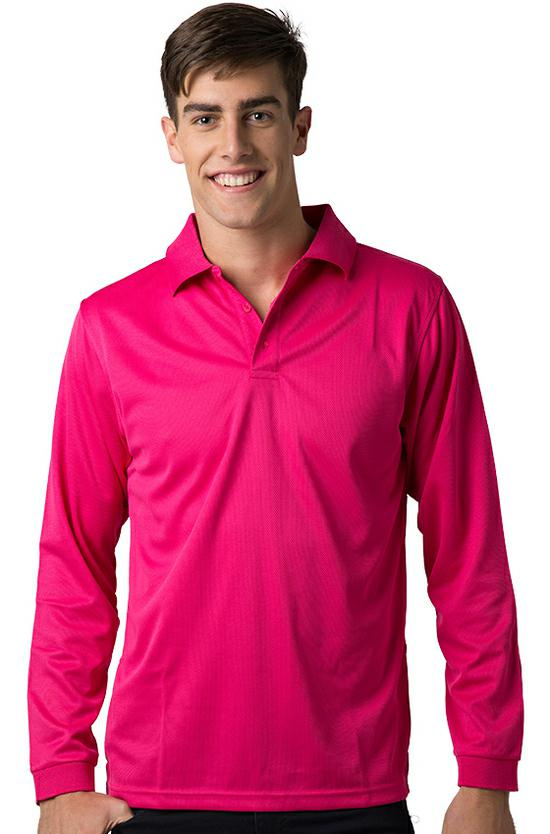 BeSeen Mens Long Sleeve Polyester Polo THE FALCON