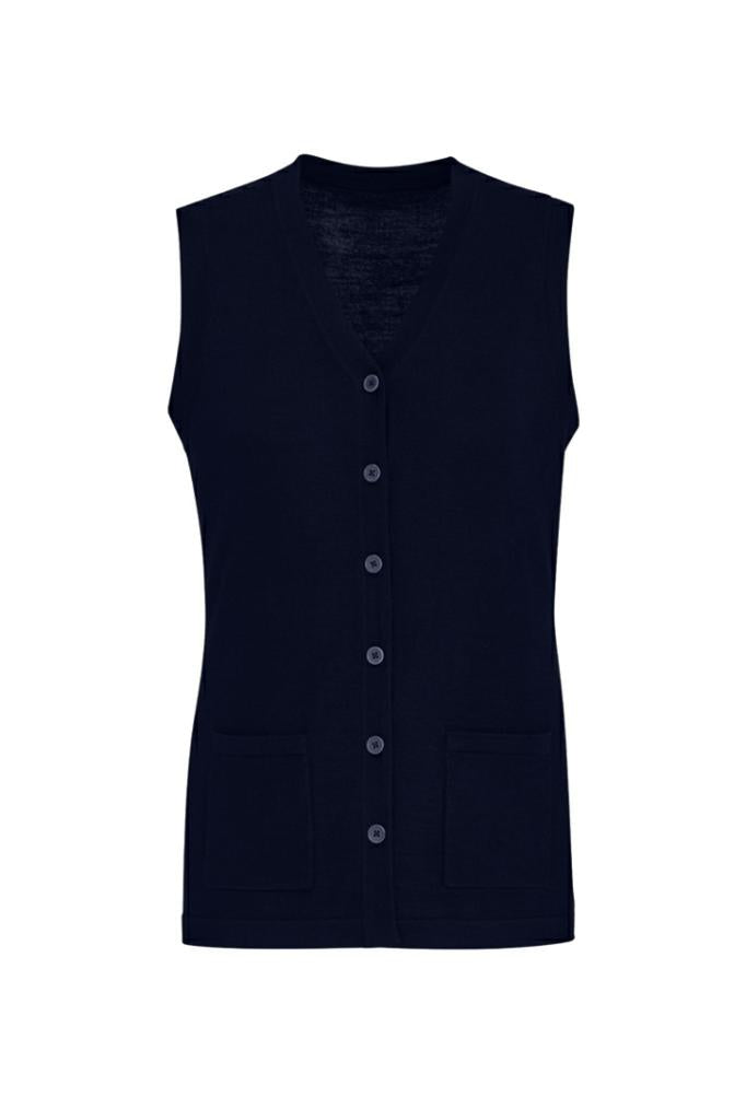 Biz Care CK961LV Womens Button Front Knit Vest