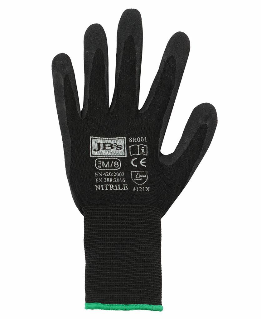 JB's Wear 8R001 Black Nitrile Glove 12PK