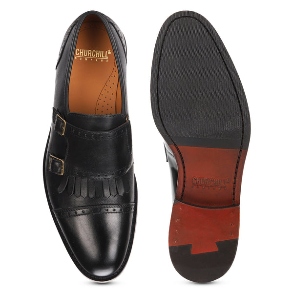 Alston: Black Double Monkstrap