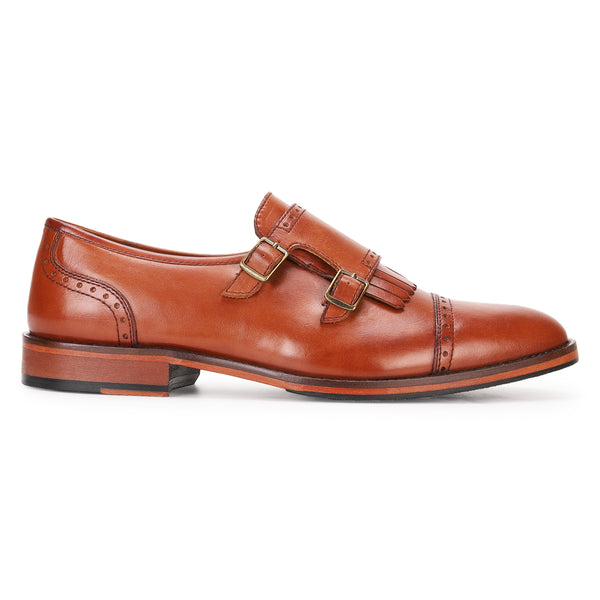 Alston: Tan Double Monkstrap