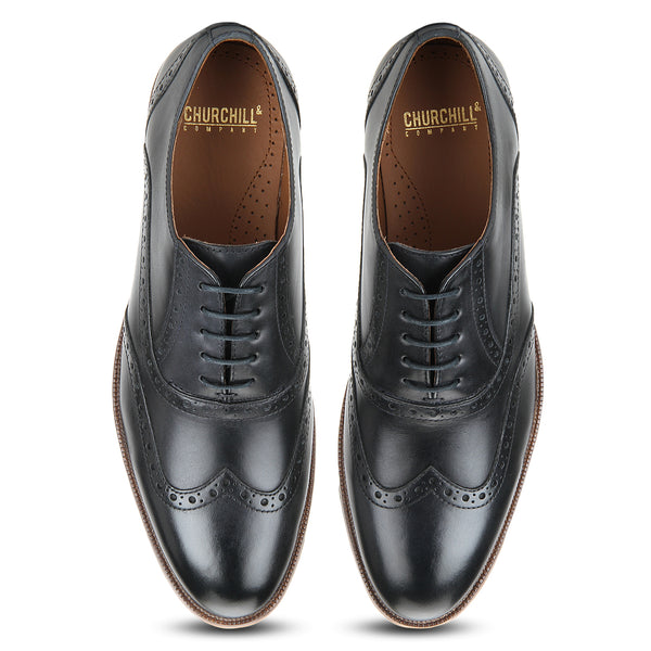 Drew: Navy Blue Wingtip Oxford