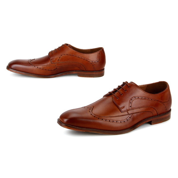 Troy: Tan Modern Wingtip Derby