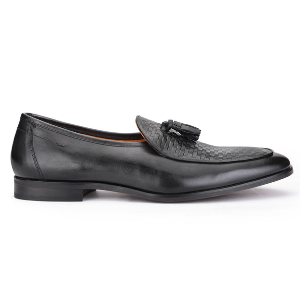 Rob: Black Textured Belgian Loafer