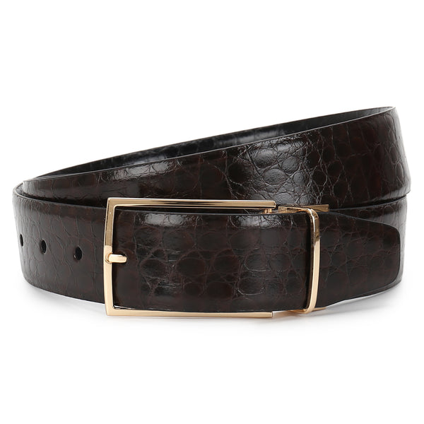 Dandy: Croc textured Brown/Black reversible Belt