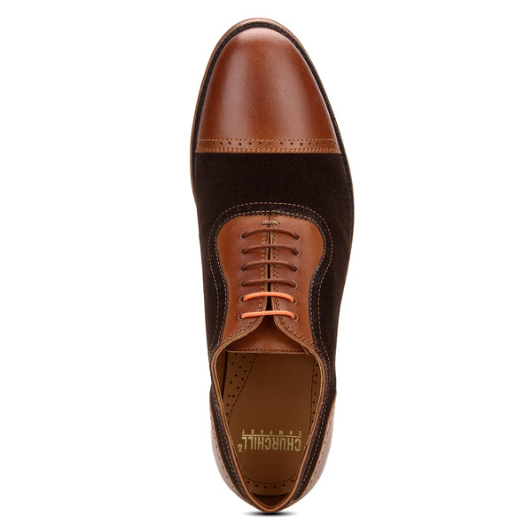 Scott: Tan & Brown Brogue Toe-Cap