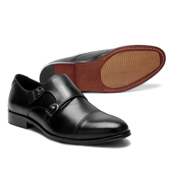 Alder : Black Double Monk Strap