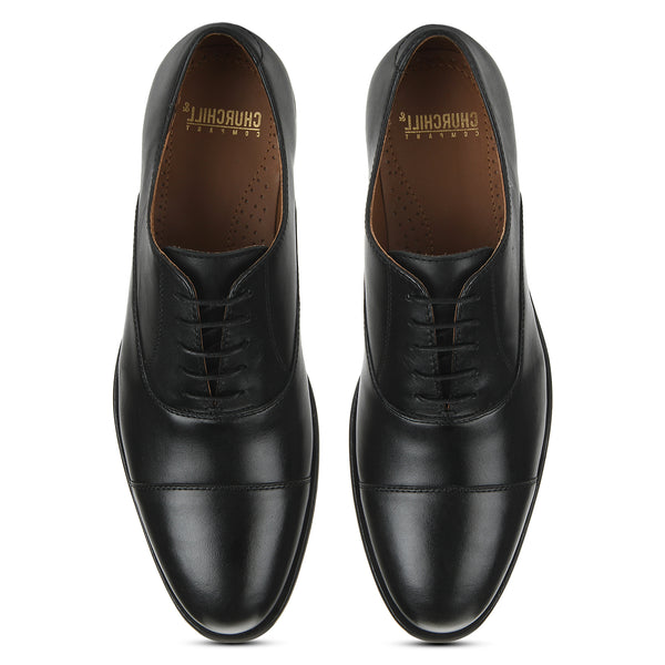 Bridge: Black Cap-toe Oxford