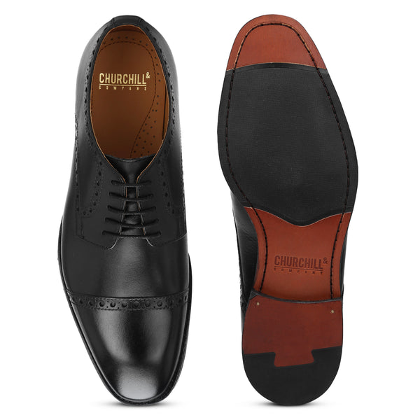 Brent: Black Cap-Toe Derby