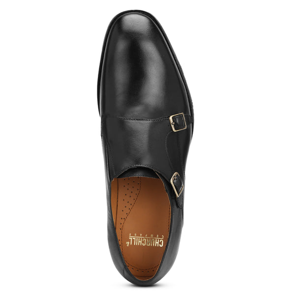 Harper: Black Double Monk Strap
