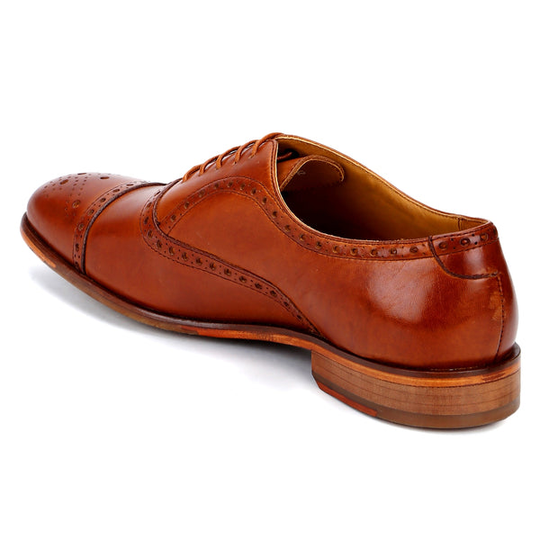 York: Tan Cap-Toe Brogue Oxford