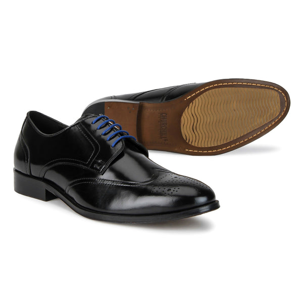 Abbot: Black wingtip Derby