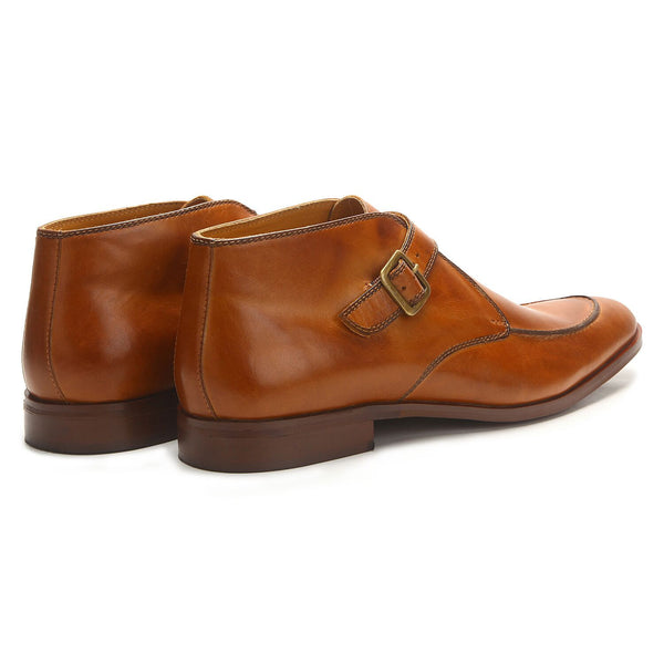 Almond: Tan Monk Strap Boots