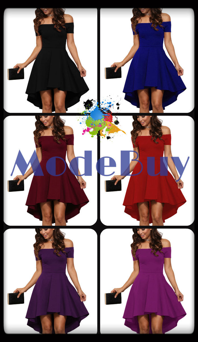 Robe Patineuse Cocktail Bordeaux/Noir/Blanc/Rouge/Bleu/Violet