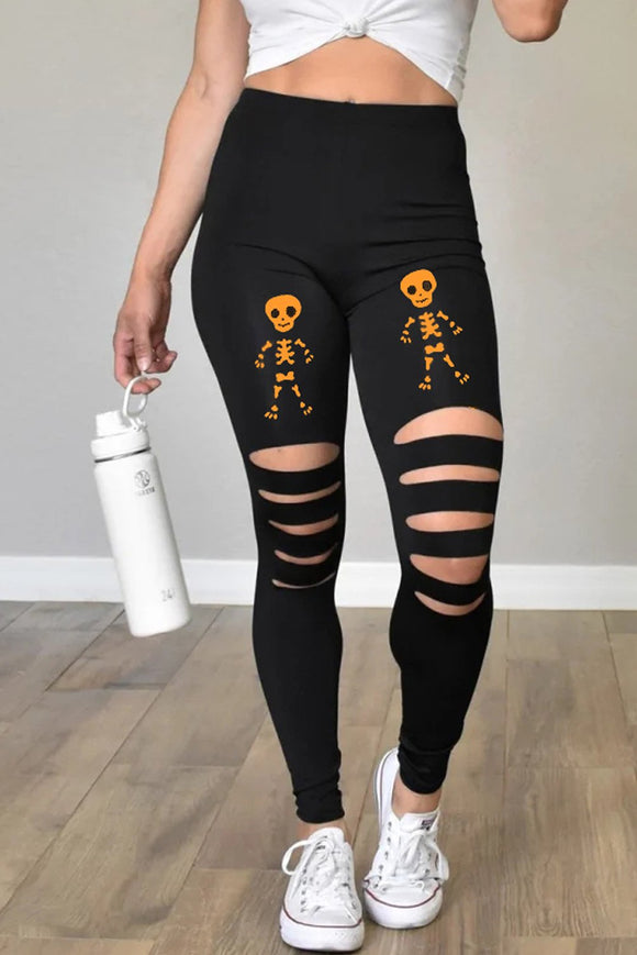 Legging Noir Femme Orange d'Halloween Imprime Squelette Decoupe